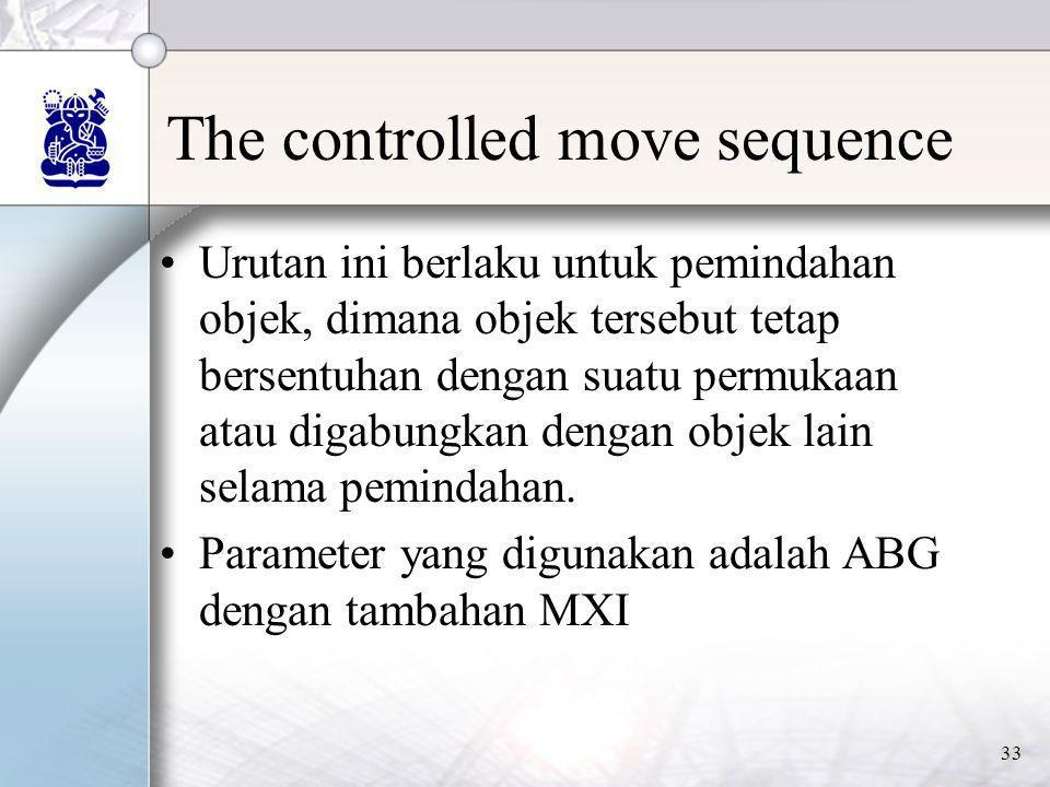 33 The controlled move sequence •Urutan ini berlaku untuk pemindahan objek, dimana objek tersebut tetap bersentuhan dengan suatu permukaan atau digabu