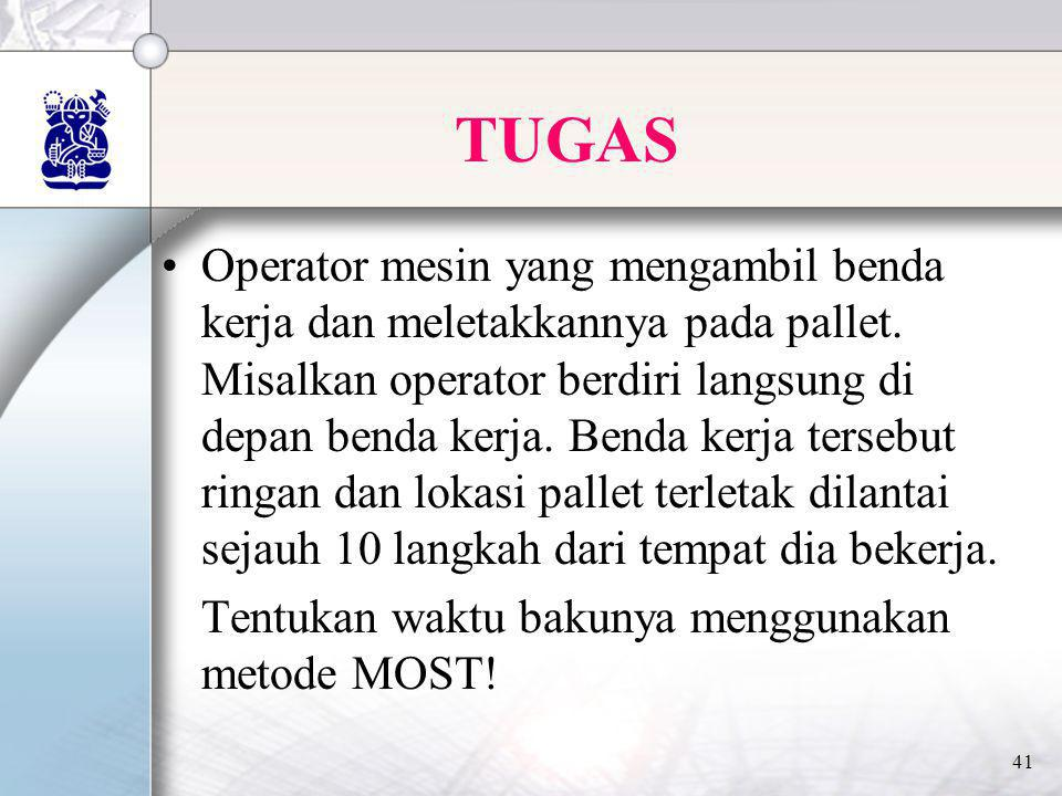 41 TUGAS •Operator mesin yang mengambil benda kerja dan meletakkannya pada pallet. Misalkan operator berdiri langsung di depan benda kerja. Benda kerj