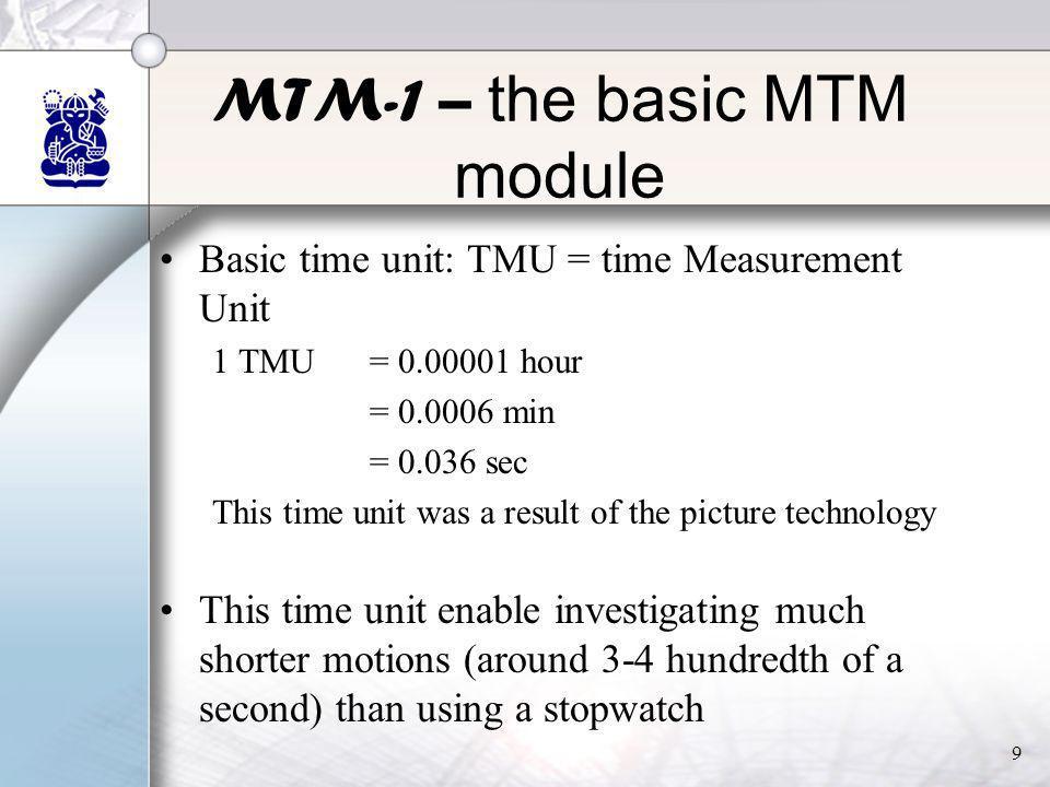 9 MTM-1 – the basic MTM module •Basic time unit: TMU = time Measurement Unit 1 TMU= 0.00001 hour = 0.0006 min = 0.036 sec This time unit was a result