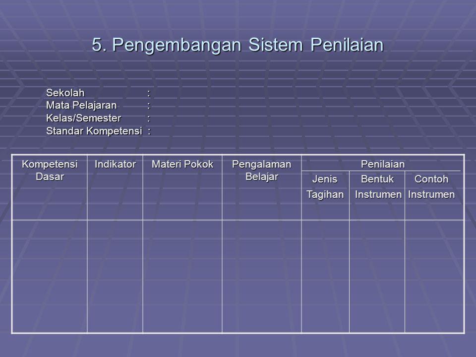 5. Pengembangan Sistem Penilaian Sekolah : Mata Pelajaran : Kelas/Semester : Standar Kompetensi : Sekolah : Mata Pelajaran : Kelas/Semester : Standar