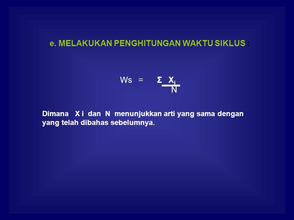 e. MELAKUKAN PENGHITUNGAN WAKTU SIKLUS : Ws = Σ X i N Dimana X i dan N menunjukkan arti yang sama dengan yang telah dibahas sebelumnya.