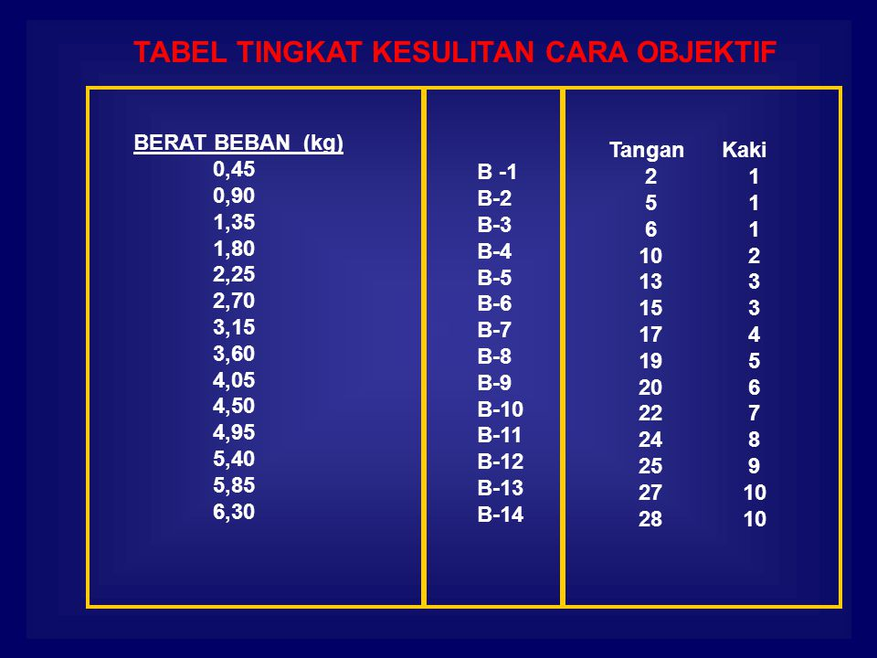BERAT BEBAN (kg) 0,45 0,90 1,35 1,80 2,25 2,70 3,15 3,60 4,05 4,50 4,95 5,40 5,85 6,30 B -1 B-2 B-3 B-4 B-5 B-6 B-7 B-8 B-9 B-10 B-11 B-12 B-13 B-14 Tangan Kaki 2 1 5 1 6 1 10 2 13 3 15 3 17 4 19 5 20 6 22 7 24 8 25 9 27 10 28 10 TABEL TINGKAT KESULITAN CARA OBJEKTIF