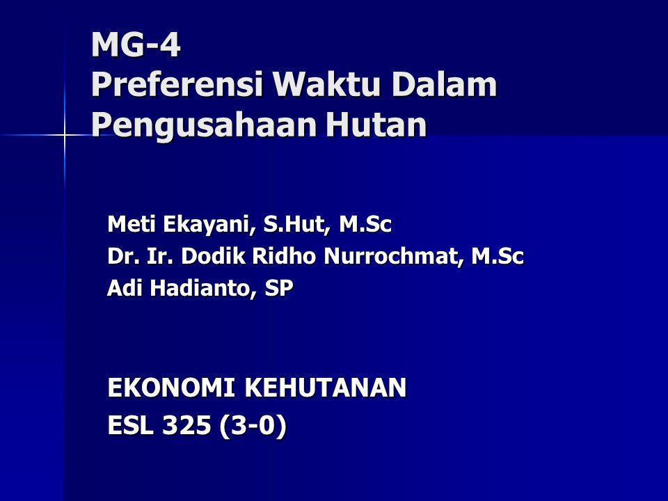MG-4 Preferensi Waktu Dalam Pengusahaan Hutan Meti Ekayani, S.Hut, M.Sc Dr.