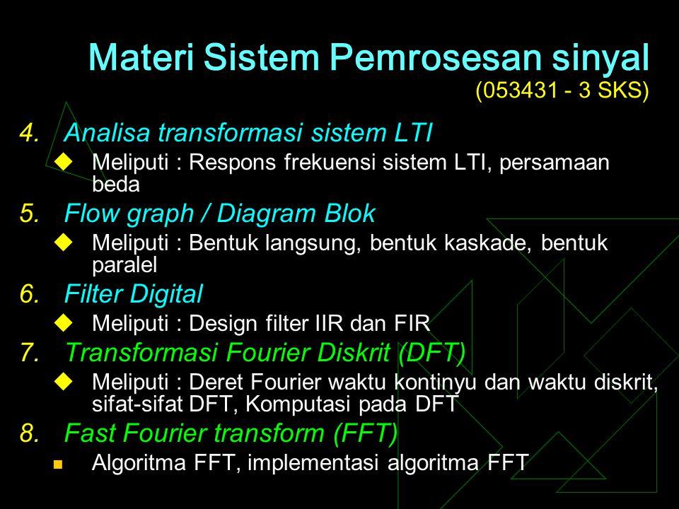 Materi Sistem Pemrosesan sinyal (053431 - 3 SKS) 1.Konsep dasar sinyal, sistem dan pemrosesan sinyal  Meliputi : Pengertian sinyal, sistem dan pemros