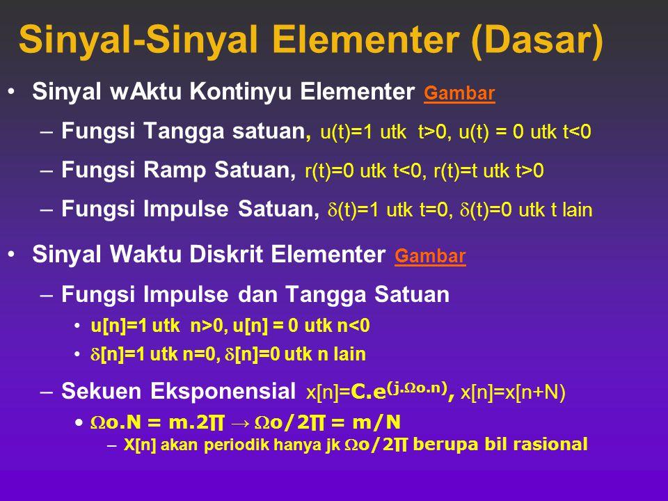 TRANSFORMASI VARIABEL BEBAS  Pergeseran  x(t-t 0 ) → x(t) yg diseser sebesar t 0  t 0 > 0 → sinyal didelay sebesar t 0  t 0 < 0 → sinyal diforward