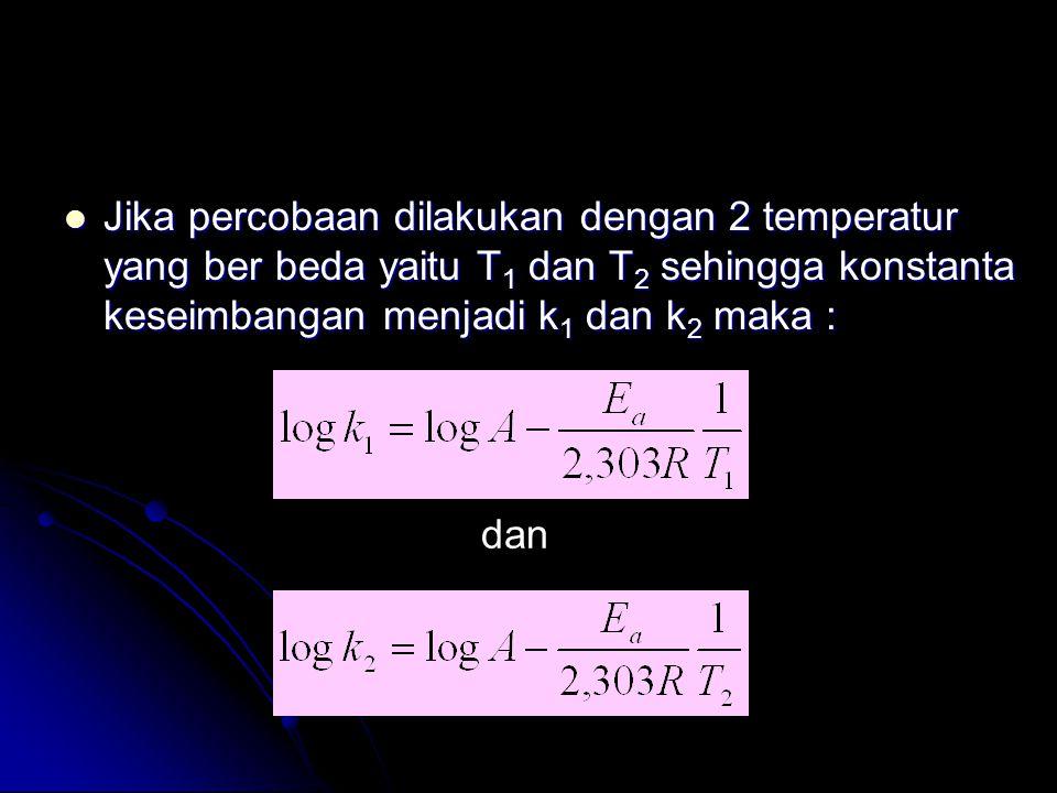  Jika percobaan dilakukan dengan 2 temperatur yang ber beda yaitu T 1 dan T 2 sehingga konstanta keseimbangan menjadi k 1 dan k 2 maka : dan