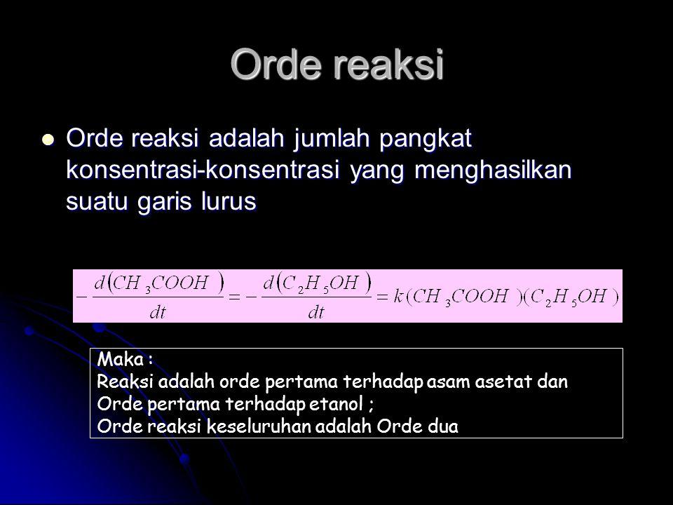 Orde reaksi  Orde reaksi adalah jumlah pangkat konsentrasi-konsentrasi yang menghasilkan suatu garis lurus Maka : Reaksi adalah orde pertama terhadap