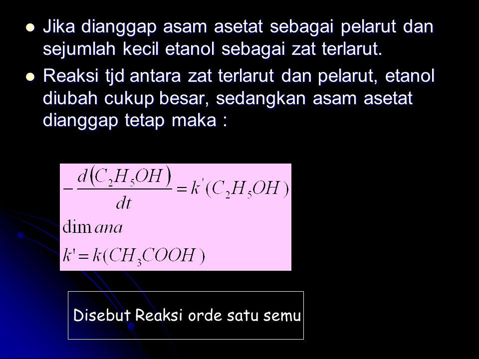 Satuan konstanta laju reaksi Reaksi orde-nol : Reaksi orde-kedua : Reaksi orde-pertama :