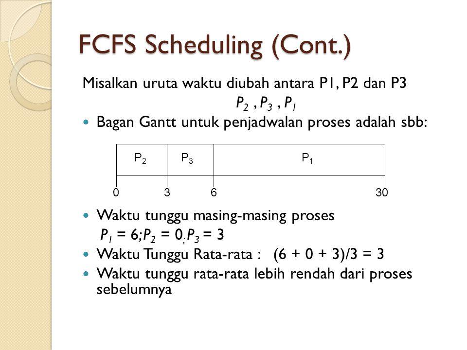 FCFS Scheduling (Cont.) Misalkan uruta waktu diubah antara P1, P2 dan P3 P 2, P 3, P 1  Bagan Gantt untuk penjadwalan proses adalah sbb:  Waktu tung