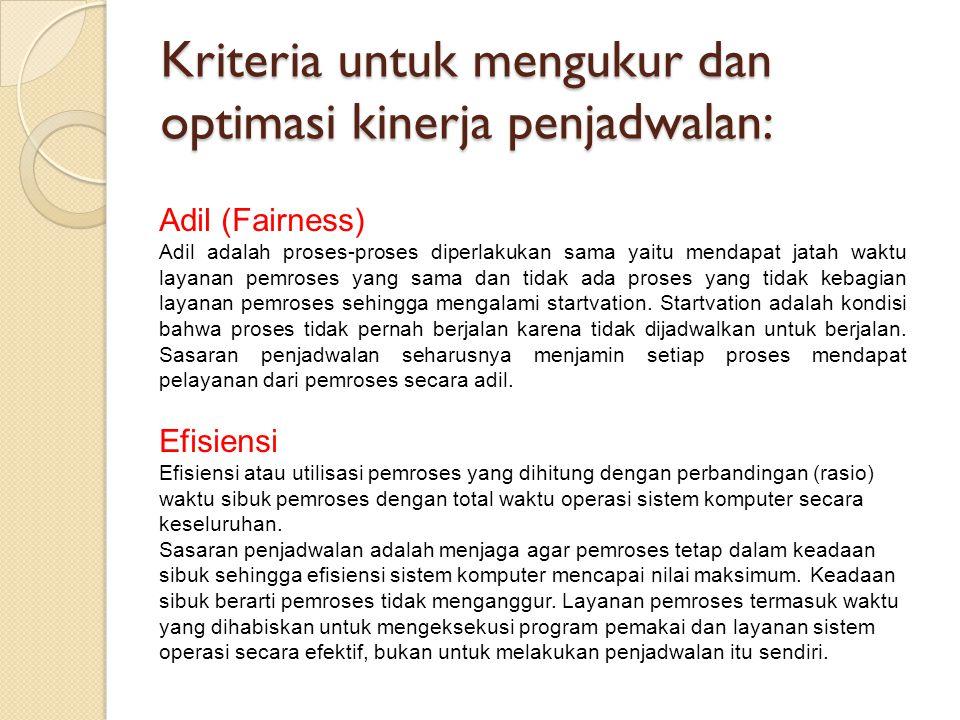 Kriteria untuk mengukur dan optimasi kinerja penjadwalan: Adil (Fairness) Adil adalah proses-proses diperlakukan sama yaitu mendapat jatah waktu layan
