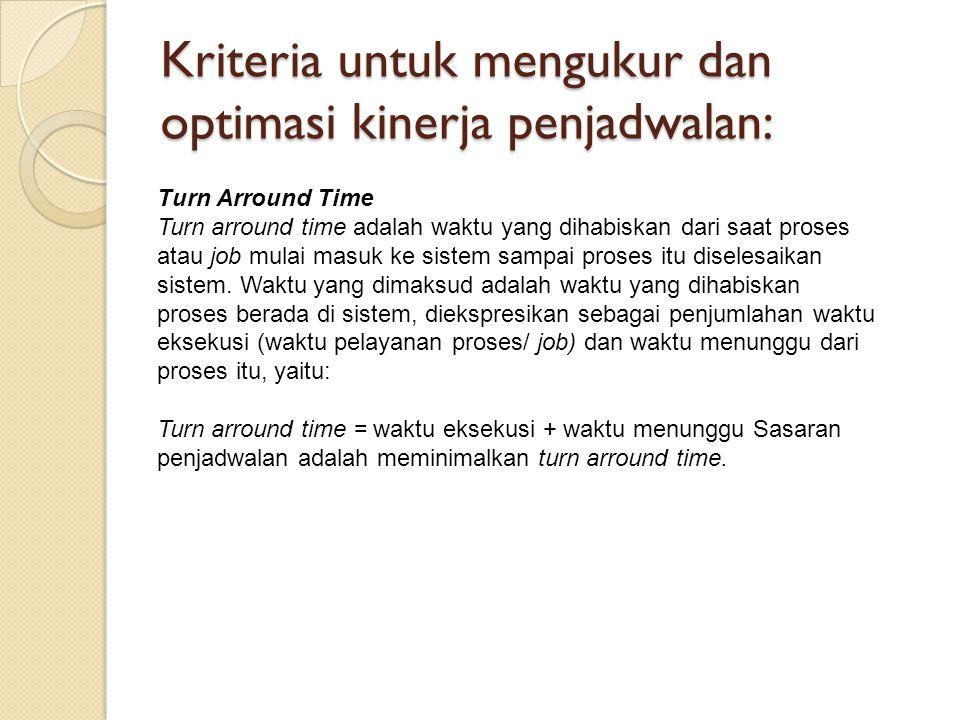 Kriteria untuk mengukur dan optimasi kinerja penjadwalan: Turn Arround Time Turn arround time adalah waktu yang dihabiskan dari saat proses atau job m