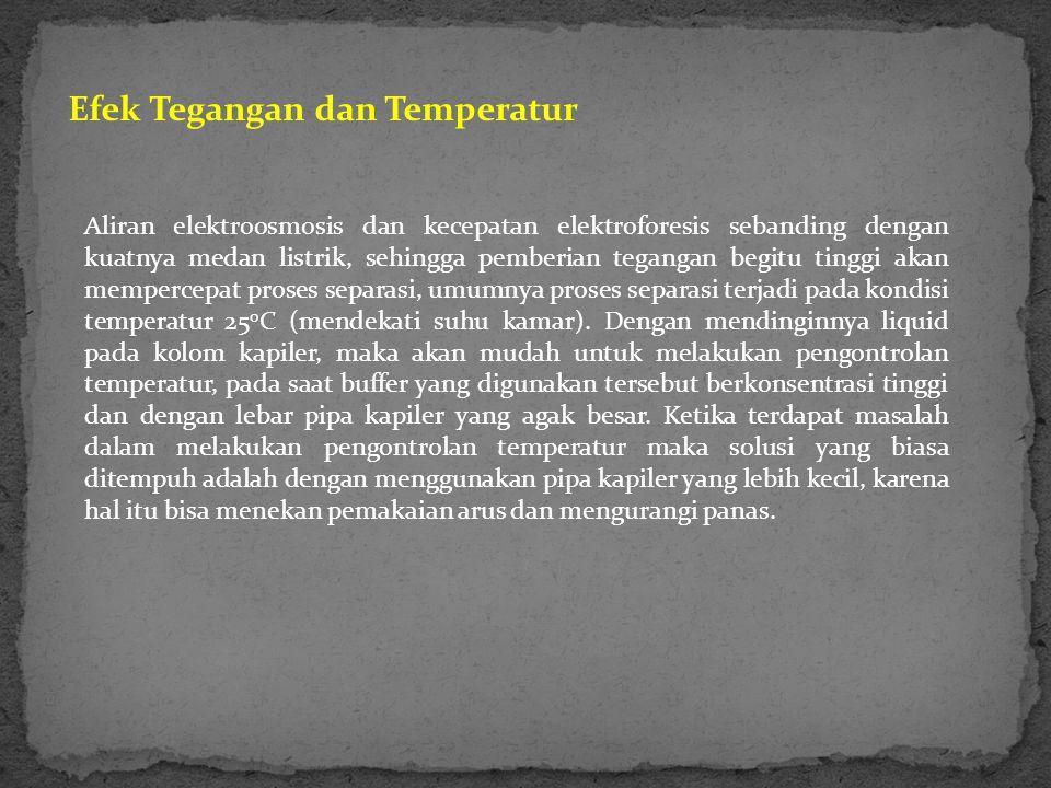 Efek Tegangan dan Temperatur Aliran elektroosmosis dan kecepatan elektroforesis sebanding dengan kuatnya medan listrik, sehingga pemberian tegangan begitu tinggi akan mempercepat proses separasi, umumnya proses separasi terjadi pada kondisi temperatur 25 o C (mendekati suhu kamar).