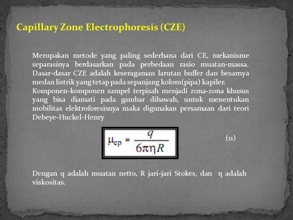 Capillary Zone Electrophoresis (CZE) Merupakan metode yang paling sederhana dari CE, mekanisme separasinya berdasarkan pada perbedaan rasio muatan-mas