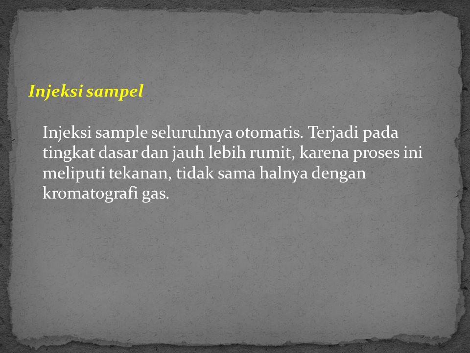 Injeksi sampel Injeksi sample seluruhnya otomatis. Terjadi pada tingkat dasar dan jauh lebih rumit, karena proses ini meliputi tekanan, tidak sama hal