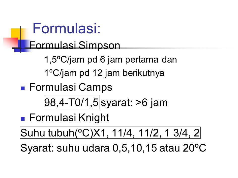 Formulasi:  Formulasi Simpson 1,5ºC/jam pd 6 jam pertama dan 1ºC/jam pd 12 jam berikutnya  Formulasi Camps 98,4-T0/1,5 syarat: >6 jam  Formulasi Kn