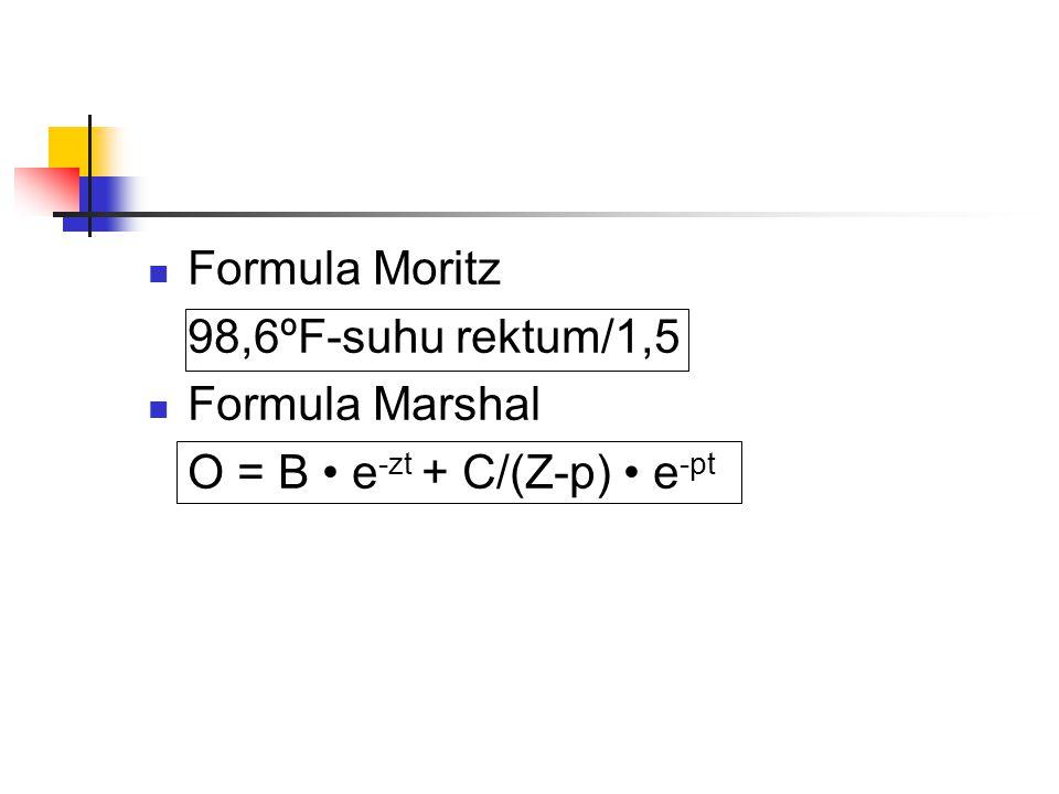  Formula Moritz 98,6ºF-suhu rektum/1,5  Formula Marshal O = B • e -zt + C/(Z-p) • e -pt