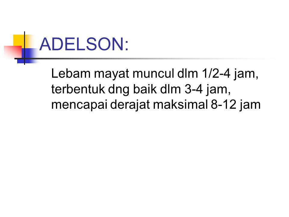 ADELSON: Lebam mayat muncul dlm 1/2-4 jam, terbentuk dng baik dlm 3-4 jam, mencapai derajat maksimal 8-12 jam