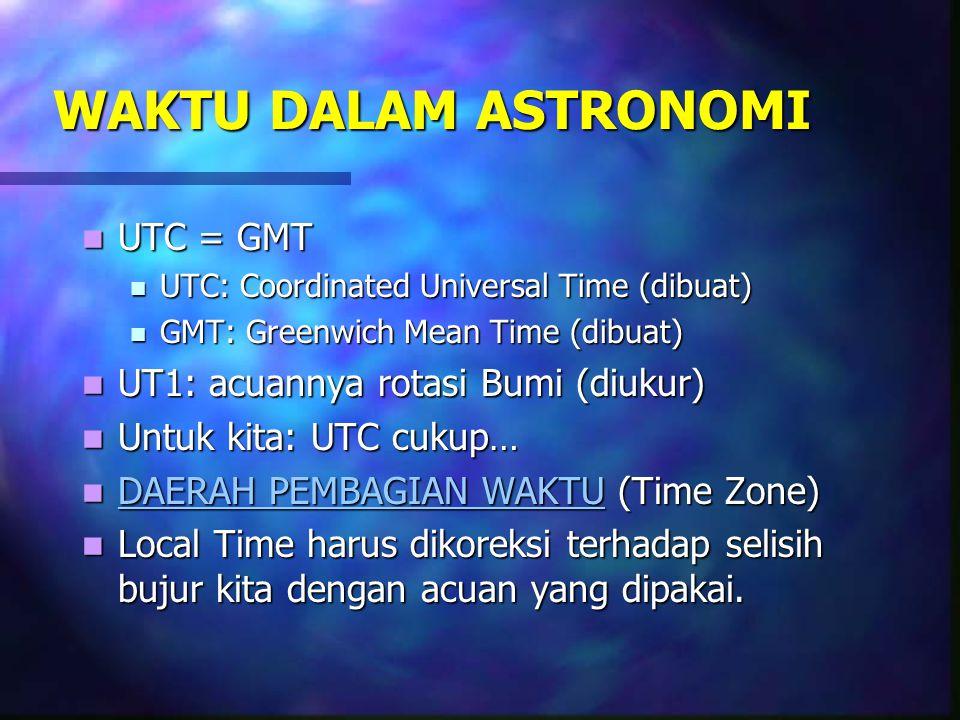  Waktu pertengahan berasal dari Civil Time (CT)= to  LCT = to + 12 Jam  Karena LCT dihubungkan tengah malam sedangkan to terhitung ketika matahari merembang ( Pk.12.00 )  Waktu Umum (Universal Time / UT ) Secara Internasional telah disepakati sebagai waktu umum yang dikenal sebutan GMT (Greenwich Mean Time)  GMT menggunakan patokan Pukul 12.00 ditetapkan ketika matahari merembang di Greenwich Observatorium  Disamping LCT ada LMT (Local Mean Time) adalah Pukul 12.00 ditetapkan matahari merembang bagi tempat – tempat tertentu  Dengan demikian diadakan penyesuaian LMT dan GMT yaitu 360 derajat yang sesuai dengan 24 jam ini sesuai dengan 15 derajad bujur setara dengan 1 jam atau 1 derajad setara dengan 4 menit  Berdasarkan daerah pembagian waktu.