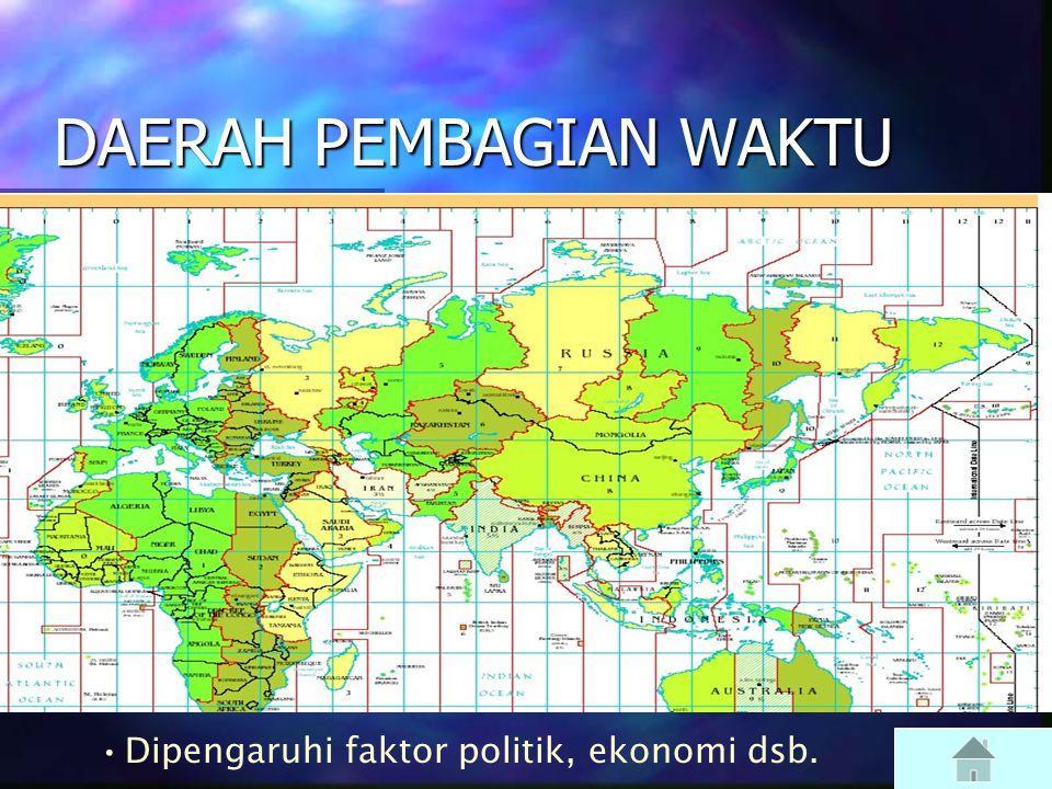  UTC = GMT  UTC: Coordinated Universal Time (dibuat)  GMT: Greenwich Mean Time (dibuat)  UT1: acuannya rotasi Bumi (diukur)  Untuk kita: UTC cukup…  DAERAH PEMBAGIAN WAKTU (Time Zone) DAERAH PEMBAGIAN WAKTU DAERAH PEMBAGIAN WAKTU  Local Time harus dikoreksi terhadap selisih bujur kita dengan acuan yang dipakai.