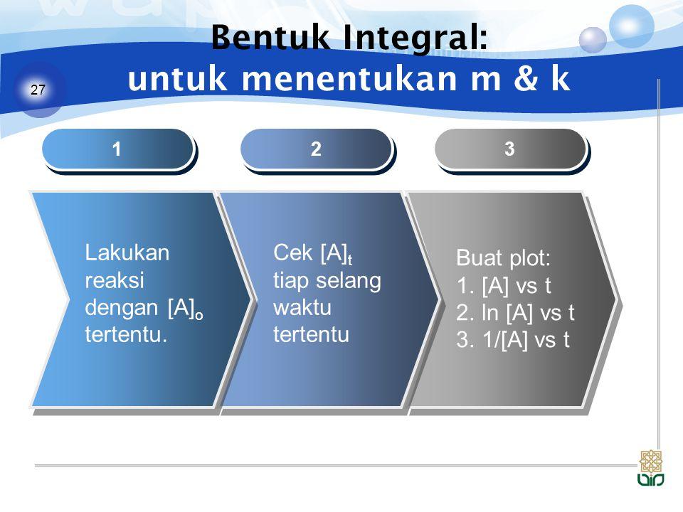 27 Bentuk Integral: untuk menentukan m & k 1 1 2 2 3 3 Lakukan reaksi dengan [A] o tertentu. Cek [A] t tiap selang waktu tertentu Buat plot: 1.[A] vs
