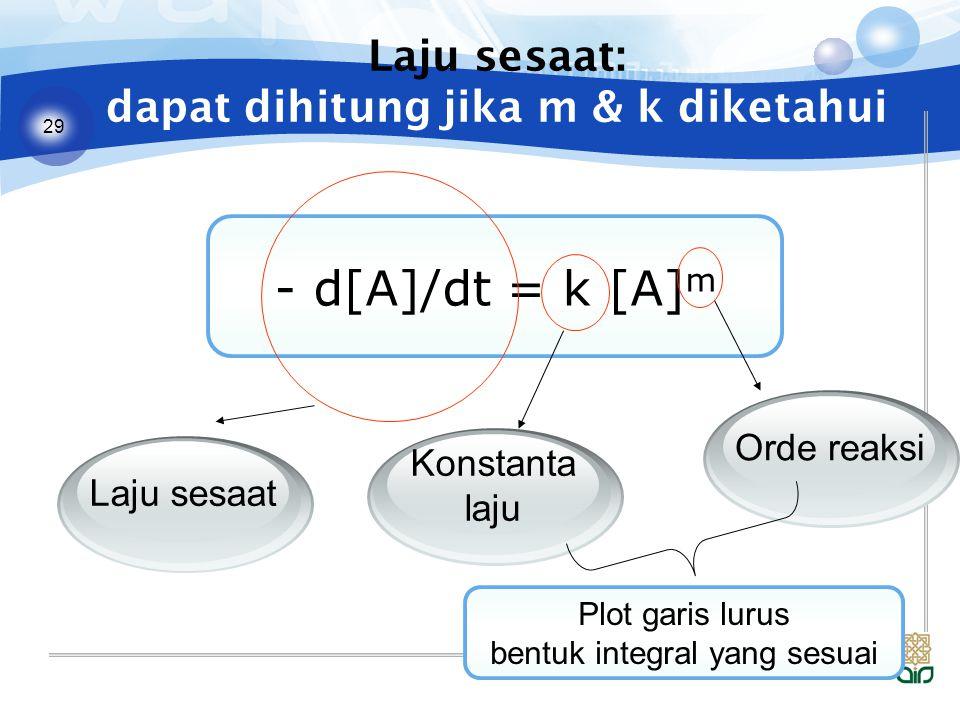 29 Laju sesaat: dapat dihitung jika m & k diketahui - d[A]/dt = k [A] m Laju sesaat Konstanta laju Orde reaksi Plot garis lurus bentuk integral yang sesuai