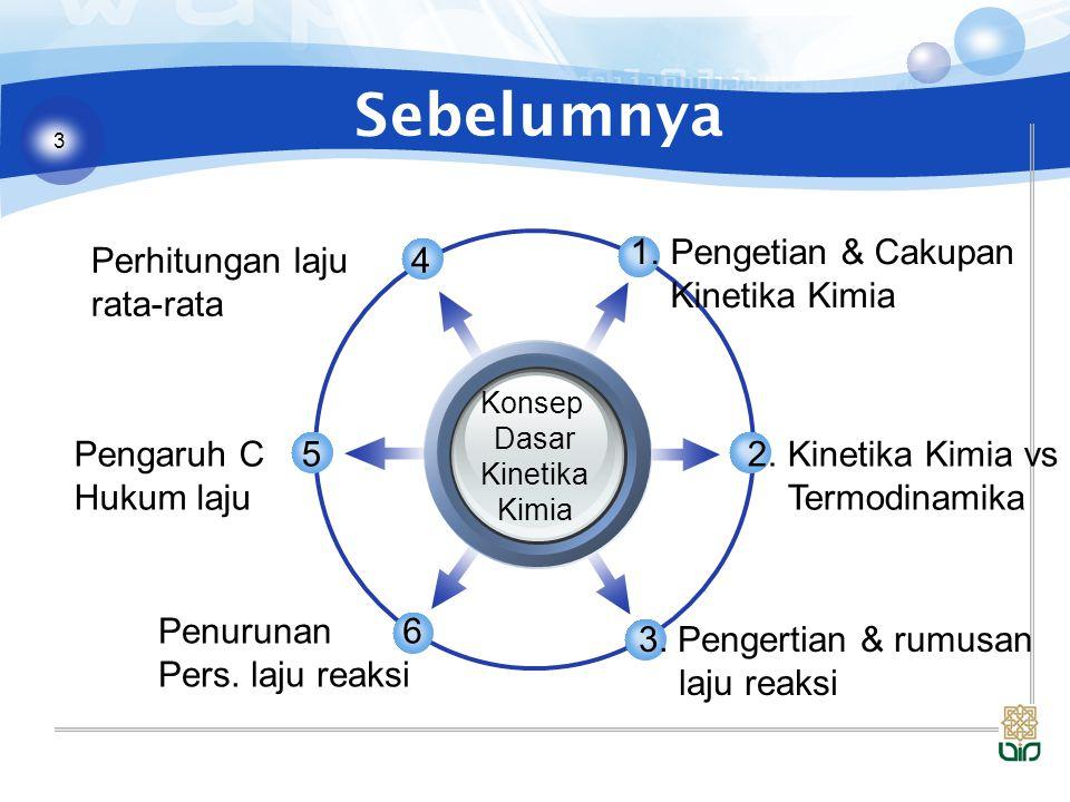3 Sebelumnya Konsep Dasar Kinetika Kimia 1.Pengetian & Cakupan Kinetika Kimia 2.Kinetika Kimia vs Termodinamika 3. Pengertian & rumusan laju reaksi Pe