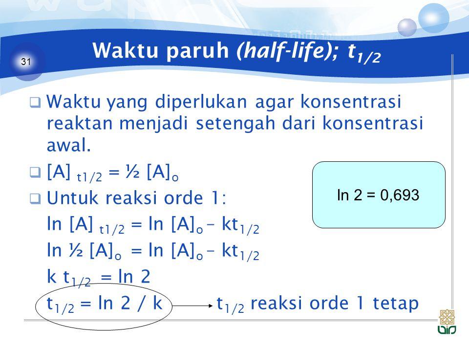 31 Waktu paruh (half-life); t 1/2  Waktu yang diperlukan agar konsentrasi reaktan menjadi setengah dari konsentrasi awal.  [A] t1/2 = ½ [A] o  Untu