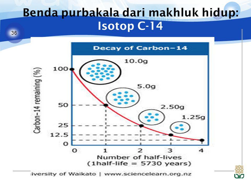 36 Benda purbakala dari makhluk hidup: Isotop C-14