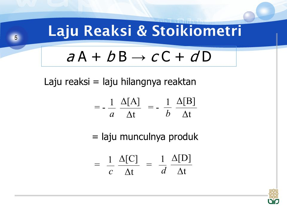 5 Laju Reaksi & Stoikiometri a A + b B → c C + d D Laju reaksi = laju hilangnya reaktan = Δ[C] ΔtΔt 1 c = Δ[D] ΔtΔt 1 d Δ[A] ΔtΔt 1 a = - Δ[B] ΔtΔt 1 b = - = laju munculnya produk