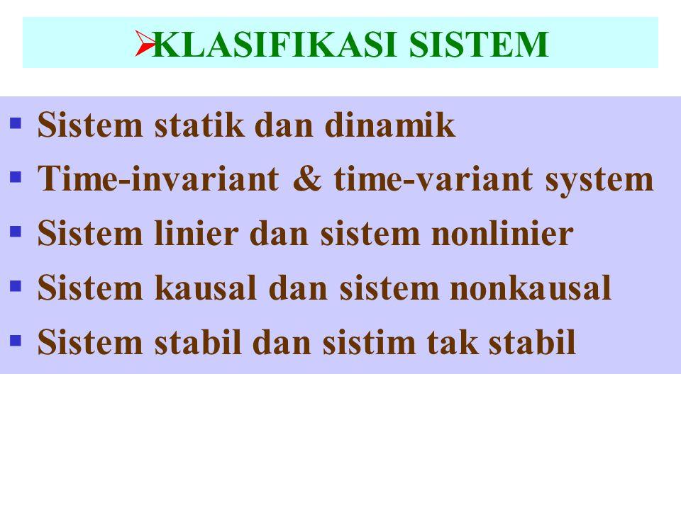  KLASIFIKASI SISTEM  Sistem statik dan dinamik  Time-invariant & time-variant system  Sistem linier dan sistem nonlinier  Sistem kausal dan siste