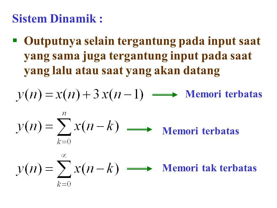 Sistem Dinamik :  Outputnya selain tergantung pada input saat yang sama juga tergantung input pada saat yang lalu atau saat yang akan datang Memori t