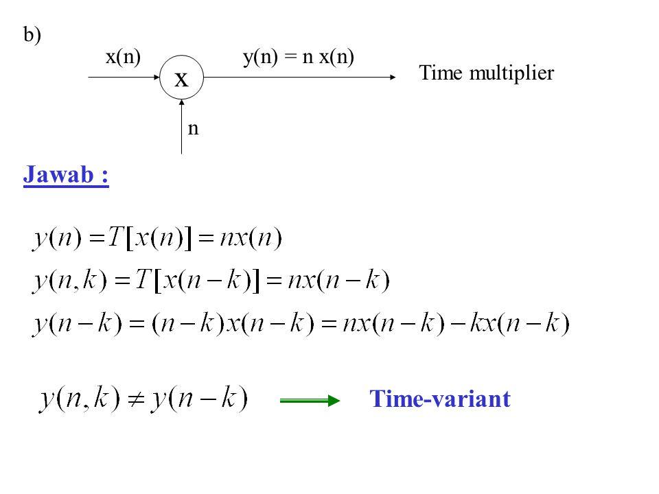 Jawab : x n x(n) y(n) = n x(n) Time multiplierb) Time-variant
