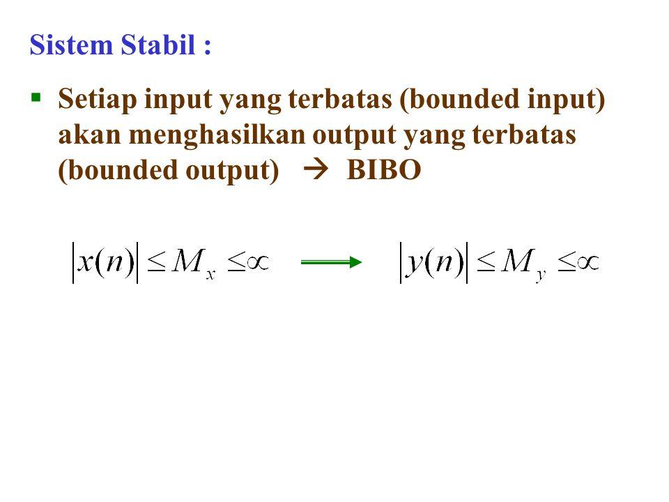 Sistem Stabil :  Setiap input yang terbatas (bounded input) akan menghasilkan output yang terbatas (bounded output)  BIBO