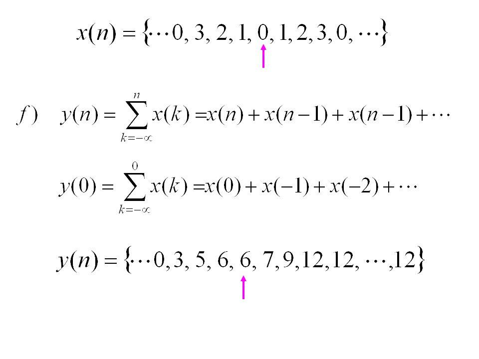Contoh Soal 5.6 Tentukan kausalitas dari sistem-sistem di bawah ini : a, b dan c kausal d, e dan f nonkausal g kausal