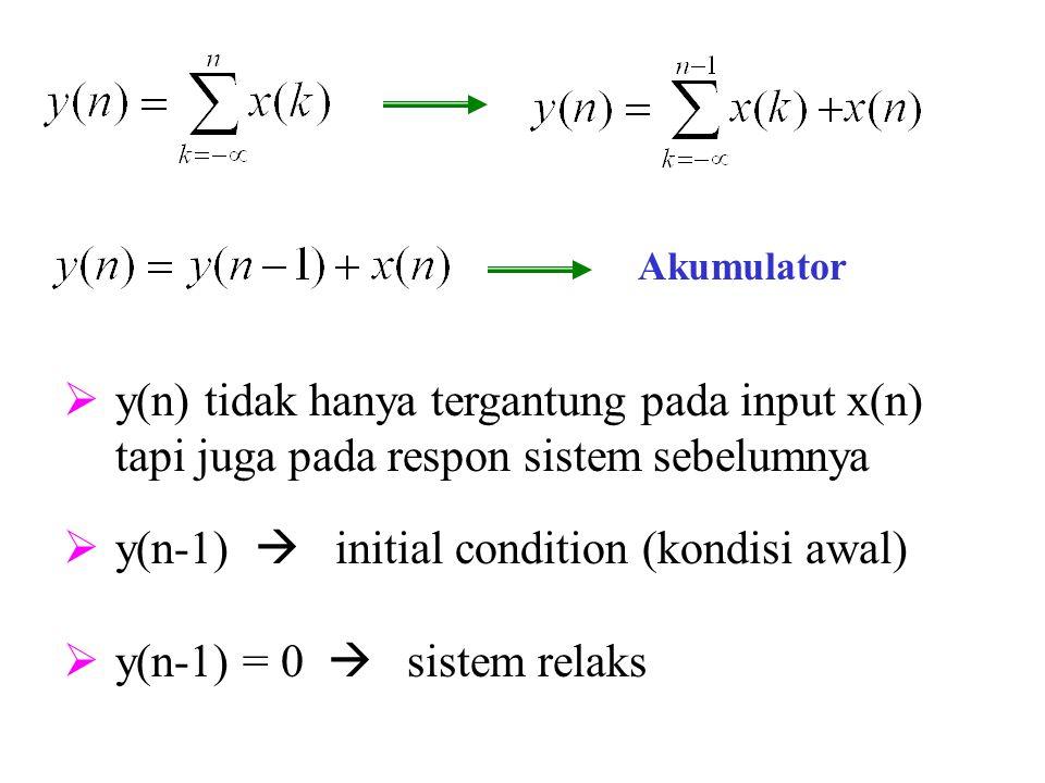 Akumulator  y(n) tidak hanya tergantung pada input x(n) tapi juga pada respon sistem sebelumnya  y(n-1)  initial condition (kondisi awal)  y(n-1)