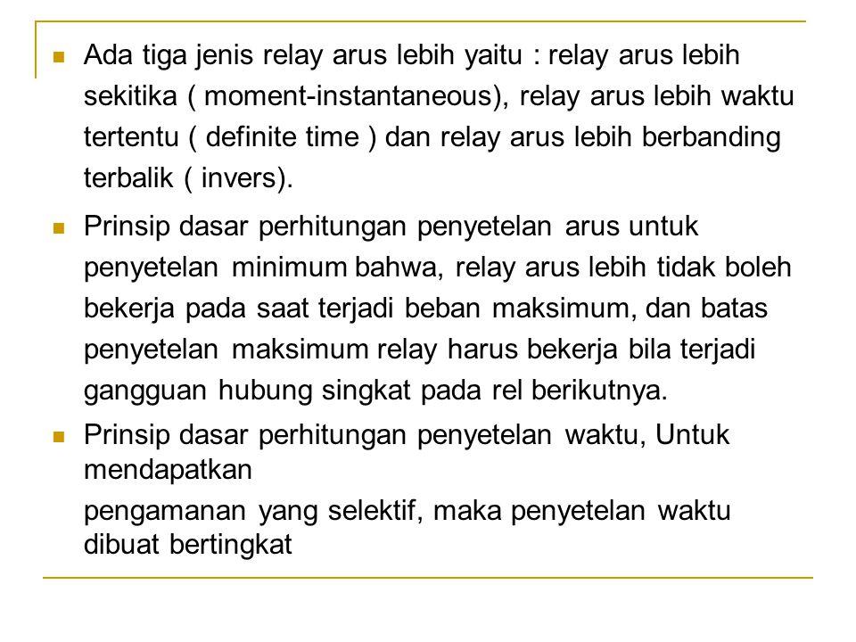  Ada tiga jenis relay arus lebih yaitu : relay arus lebih sekitika ( moment-instantaneous), relay arus lebih waktu tertentu ( definite time ) dan rel