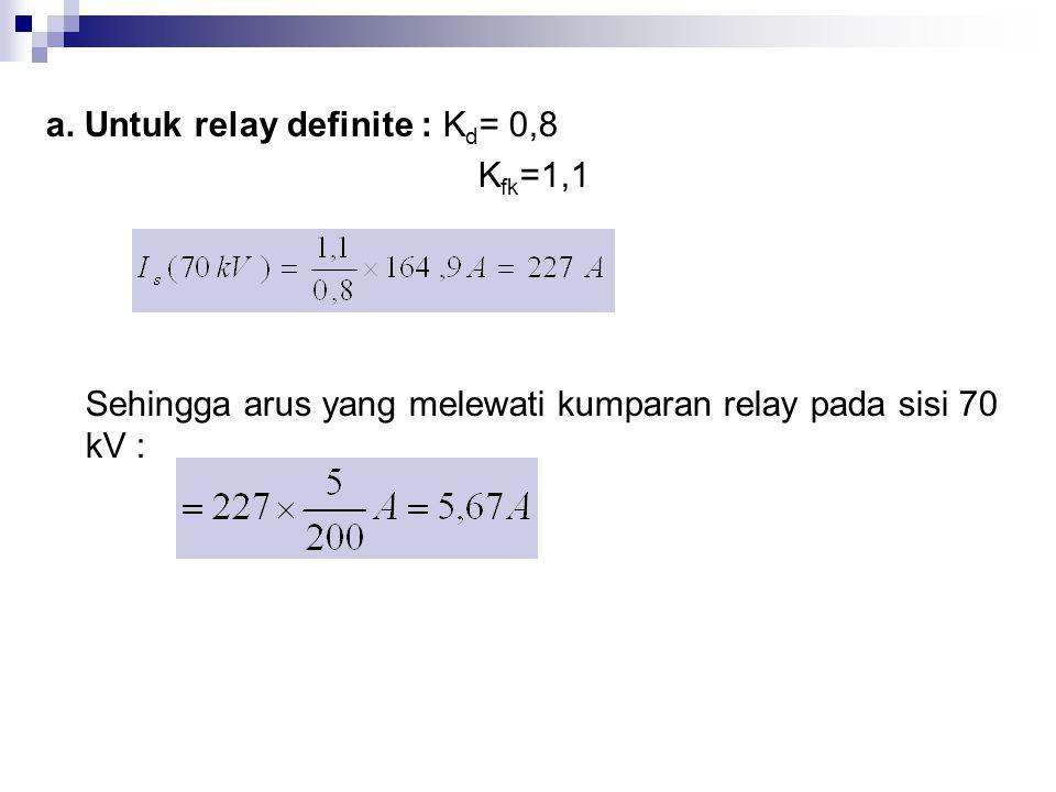 a. Untuk relay definite : K d = 0,8 K fk =1,1 Sehingga arus yang melewati kumparan relay pada sisi 70 kV :