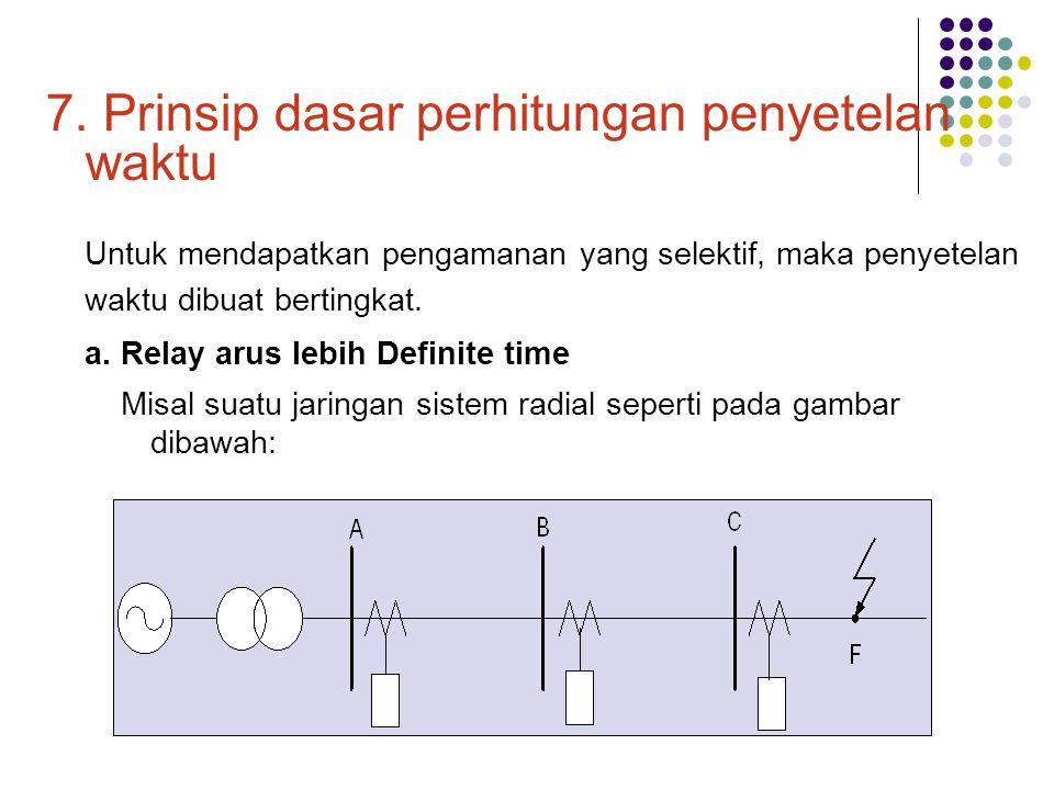 7. Prinsip dasar perhitungan penyetelan waktu Untuk mendapatkan pengamanan yang selektif, maka penyetelan waktu dibuat bertingkat. a. Relay arus lebih