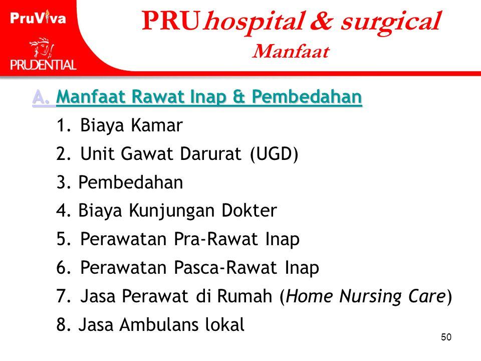 50 A. A. Manfaat Rawat Inap & Pembedahan A. 1. Biaya Kamar 2. Unit Gawat Darurat (UGD) 3. Pembedahan 4. Biaya Kunjungan Dokter 5. Perawatan Pra-Rawat