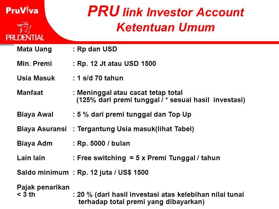 64 PRU link Investor Account Ketentuan Umum Mata Uang : Rp dan USD Min. Premi: Rp. 12 Jt atau USD 1500 Usia Masuk: 1 s/d 70 tahun Manfaat: Meninggal a