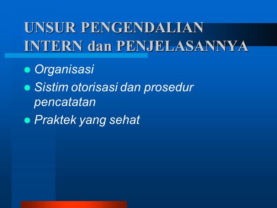 UNSUR PENGENDALIAN INTERN dan PENJELASANNYA  Organisasi  Sistim otorisasi dan prosedur pencatatan  Praktek yang sehat