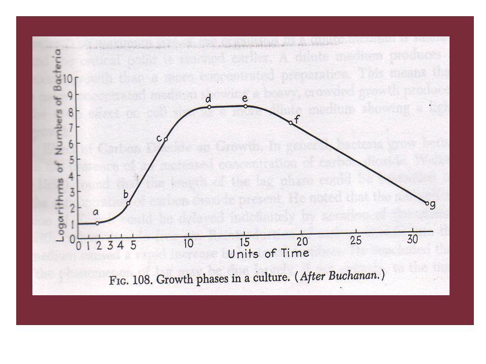 Menurut Buchanan (1918) Kurva pertumbuhan bakteri dibagi dalam 7 : 1)Initial Stationary Phase (a) jumlah bakteri tetap konstan 2)Lag Phase or Phase of Positive Growth Acceleration (ab) kecepatan multiplikasi meningkat dengan waktu 3)Logarithmic Growth Phase (bc) kecepatan multiplikasi tetap konstan waktu generasi tetap 4)Phase of Negative Growth Acceleration (cd) kecepatan multiplikasi menurun rata-rata waktu generasi meningkat organisme meningkat dalam jumlah tetapi kecepatan lebih lambat dari pada phase logaritma