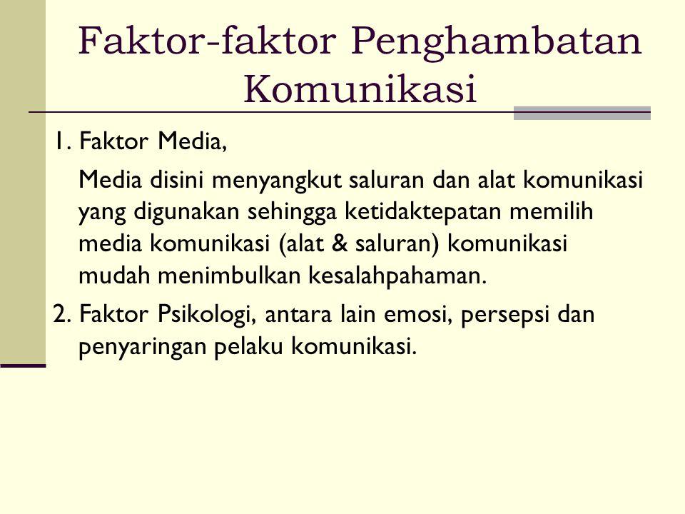 Faktor-faktor Penghambatan Komunikasi 1. Faktor Media, Media disini menyangkut saluran dan alat komunikasi yang digunakan sehingga ketidaktepatan memi