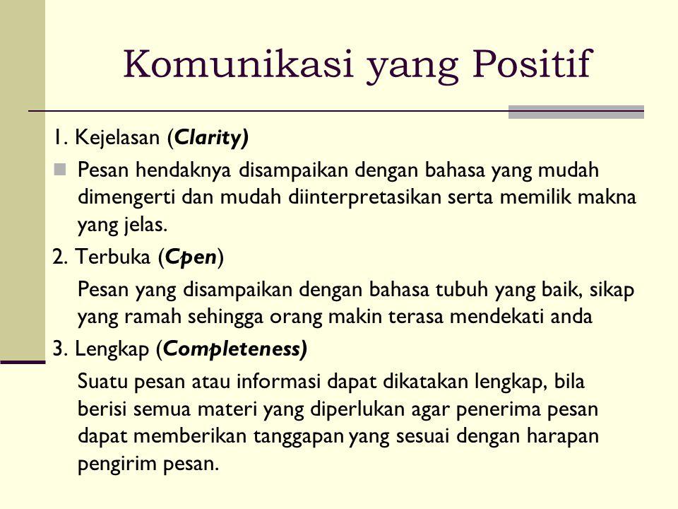 Komunikasi yang Positif 1. Kejelasan (Clarity)  Pesan hendaknya disampaikan dengan bahasa yang mudah dimengerti dan mudah diinterpretasikan serta mem