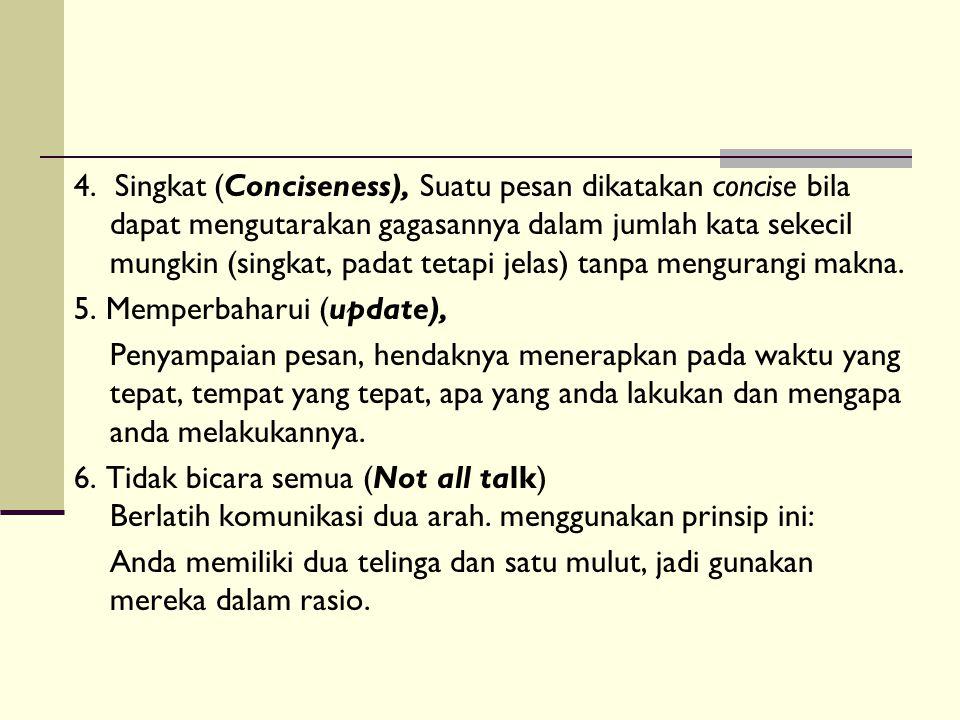 4. Singkat (Conciseness), Suatu pesan dikatakan concise bila dapat mengutarakan gagasannya dalam jumlah kata sekecil mungkin (singkat, padat tetapi je