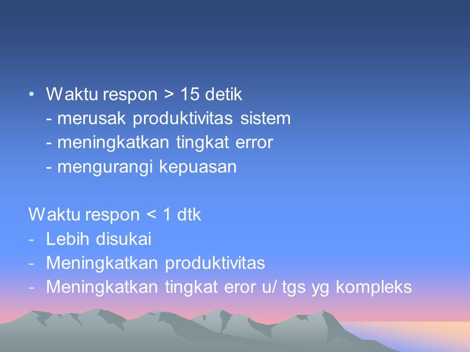 •Waktu respon > 15 detik - merusak produktivitas sistem - meningkatkan tingkat error - mengurangi kepuasan Waktu respon < 1 dtk -Lebih disukai -Mening