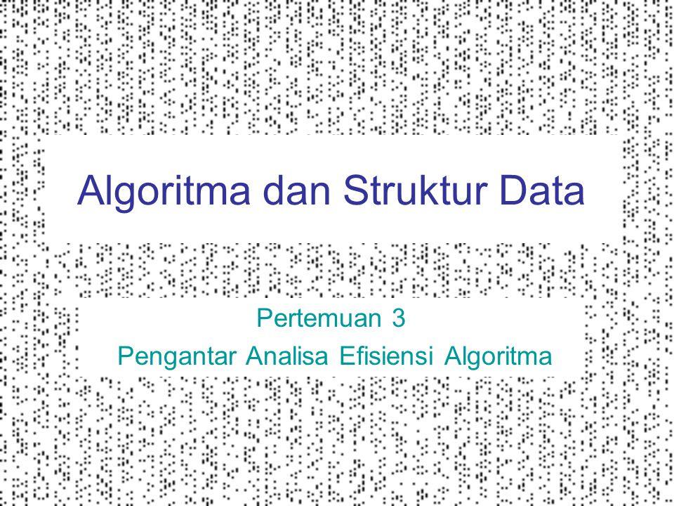  Efisiensi waktu seberapa cepat algoritma dieksekusi  Efisiensi memori berapa banyak memori yang dibutuhkan untuk menjalankan algoritma Analisa efisiensi algoritma bertujuan mengestimasi waktu dan memori yang dibutuhkan untuk mengeksekusi sebuah algoritma atau fungsi