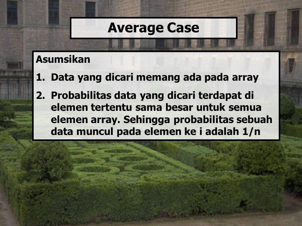 Asumsikan 1.Data yang dicari memang ada pada array 2.Probabilitas data yang dicari terdapat di elemen tertentu sama besar untuk semua elemen array. Se