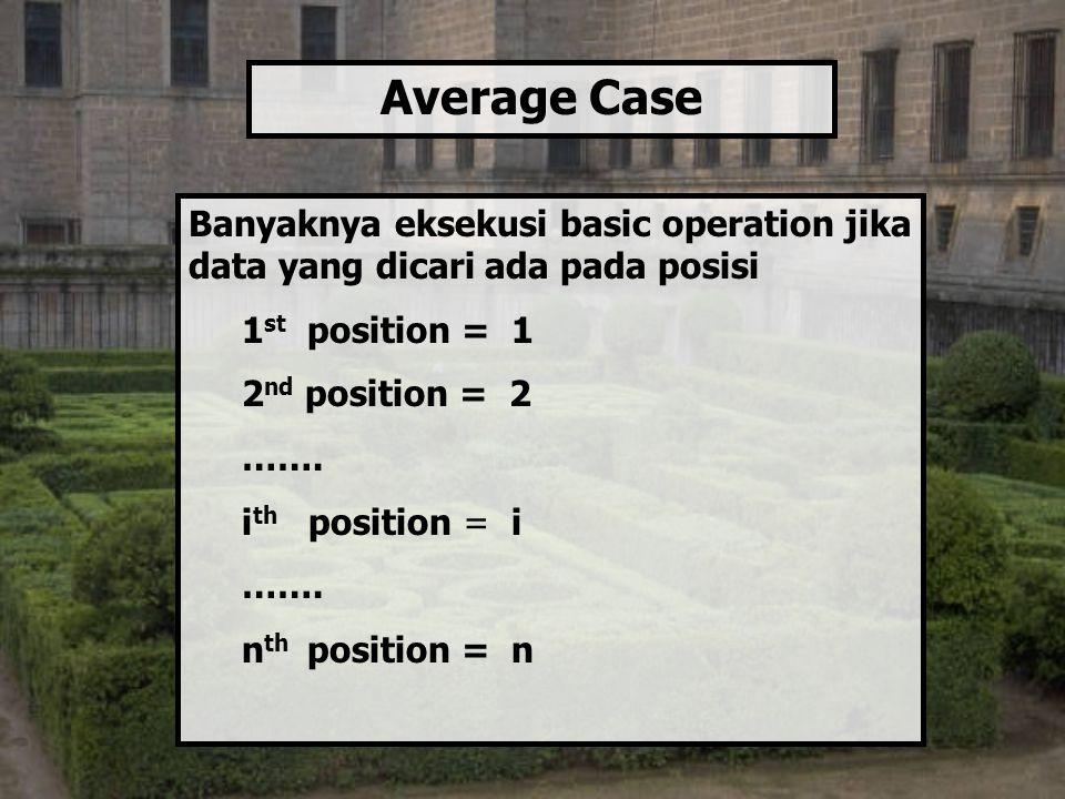 Banyaknya eksekusi basic operation jika data yang dicari ada pada posisi 1 st position = 1 2 nd position = 2 ……. i th position = i ……. n th position =