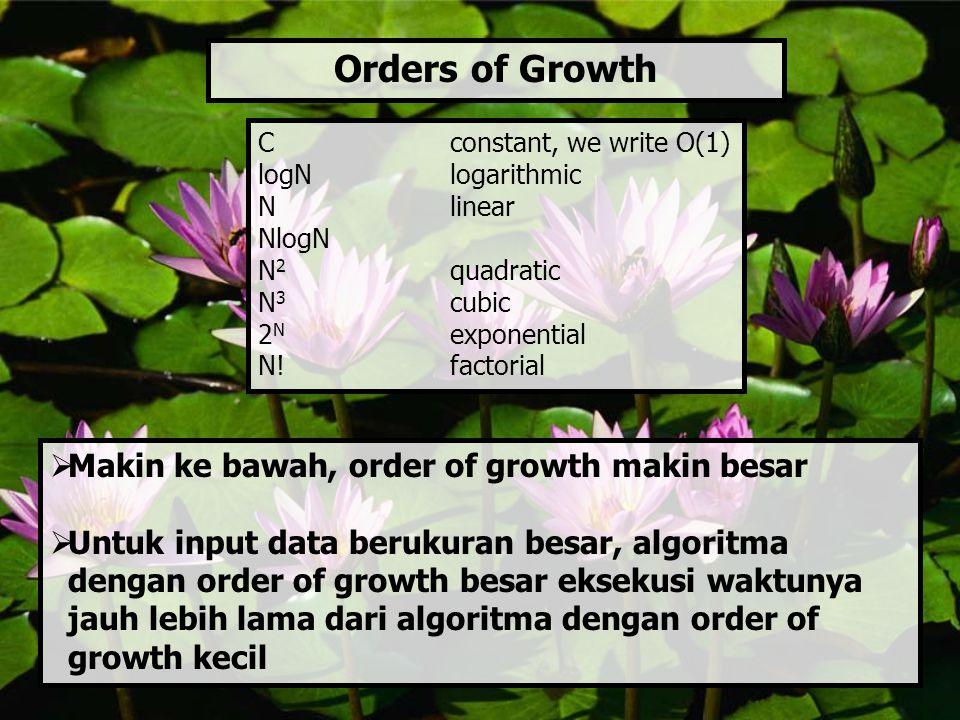 Orders of Growth  Makin ke bawah, order of growth makin besar  Untuk input data berukuran besar, algoritma dengan order of growth besar eksekusi wak